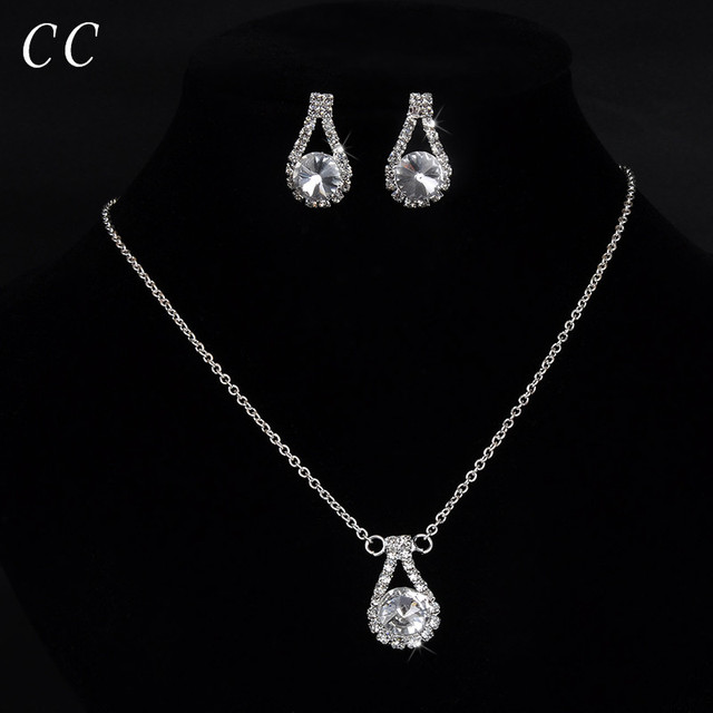 Teardrop Necklace And Earring Sets For Bridesmaid Women S Simple Wedding Jewelry Bridal Cz