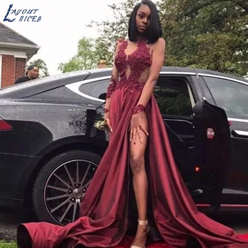 APD121 Burgundy Long Sleeves Thigh-High Slit Prom Dresses Black Girls Jewel Appliques Appliques Long Arabic Evening Party Gowns