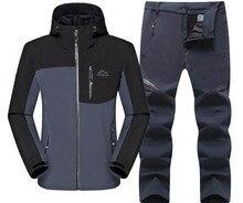 DIRENJIE Man Winter Waterproof Trekking Fleece Jacket Pants Fishing SoftShell Outdoor Hiking Travel Camping Jacket+Trousers 2PCS недорого