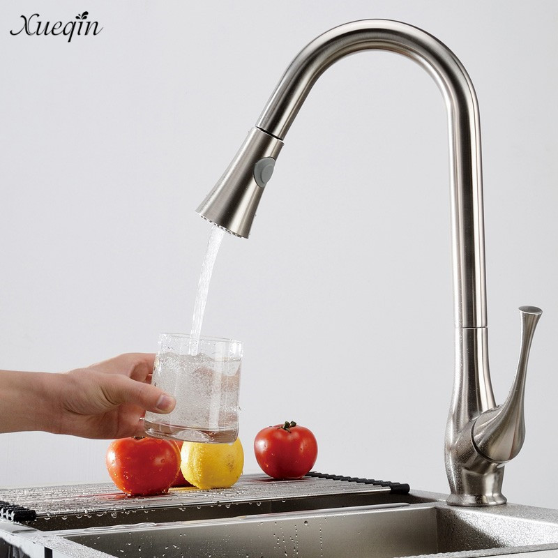 Xueqin Swivel Spray Deck Mounted Chrome Single Handle Single Hole Pull Out Kitchen Sink Faucets Mixer Hot And Cold Water Tap micoe pull style hot and cold water kitchen faucet mixer single handle single hole modern style chrome tap 360 swivel m hc103