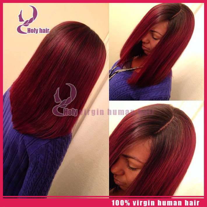 Us 183 0 8a Glueless Full Lace Red Human Hair Wigs For Black Women Virgin Hair Bob Ombre Lace Wig Glueless Full Lace Front Bob Wigs In Human Hair