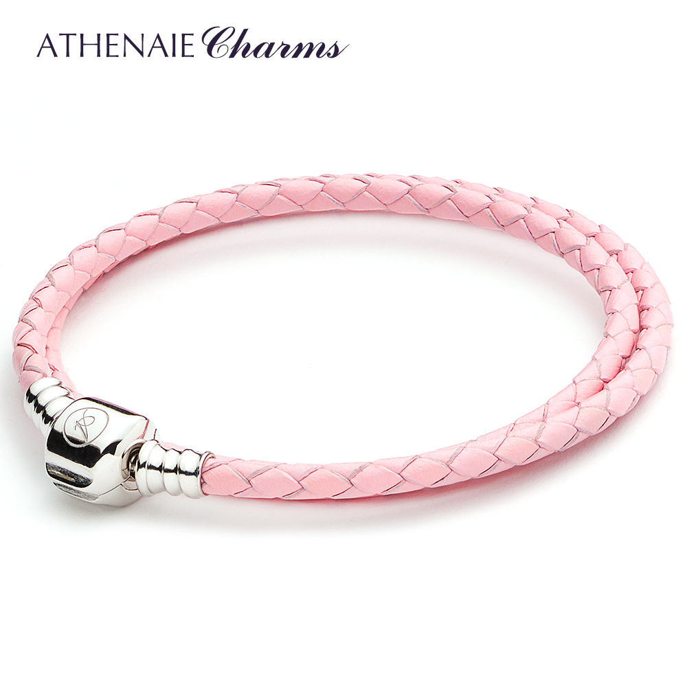 ATHENAIE Pink Double Braided Leather 925 Sterling Silver Snap Clasp Bracelet Size 13.39inch Fit European Bead