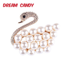 Dream Candy Elegant Pearl Brooches for Women Wedding Accessories Animal Brooch Pin Creative Jewelry Best Gift 2019 New Arrival