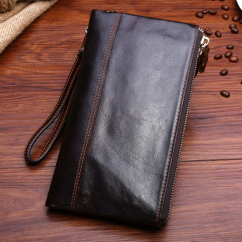 New Men Genuine Leather Wallet Long Purse with Wrist Sling Clutch Bag Vintage Business Style, Coffee / Brown lorways 016 stylish check pattern long style pu leather men s wallet blue coffee