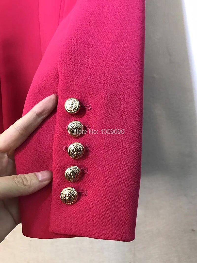 Célèbre Classique Mode Double Breasted Conception 2018 Vêtements Longues Blazers Fuschia Wishbop Manches Femme 4HxqwCd54