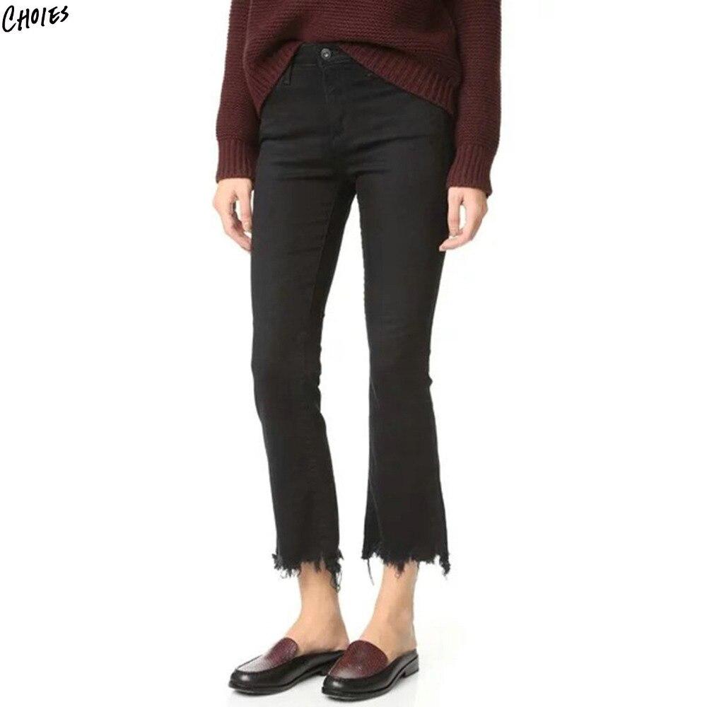 Black Raw Hem Cropped Fare Jeans Women High Waist Pockets Back Silm Autumn Regular High Street Style Cotton Denim Pant norse projects regular denim 13 5 oz raw indigo