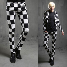 2015 mens spring clothing skinny pants male plaid casual slim trousers the trend