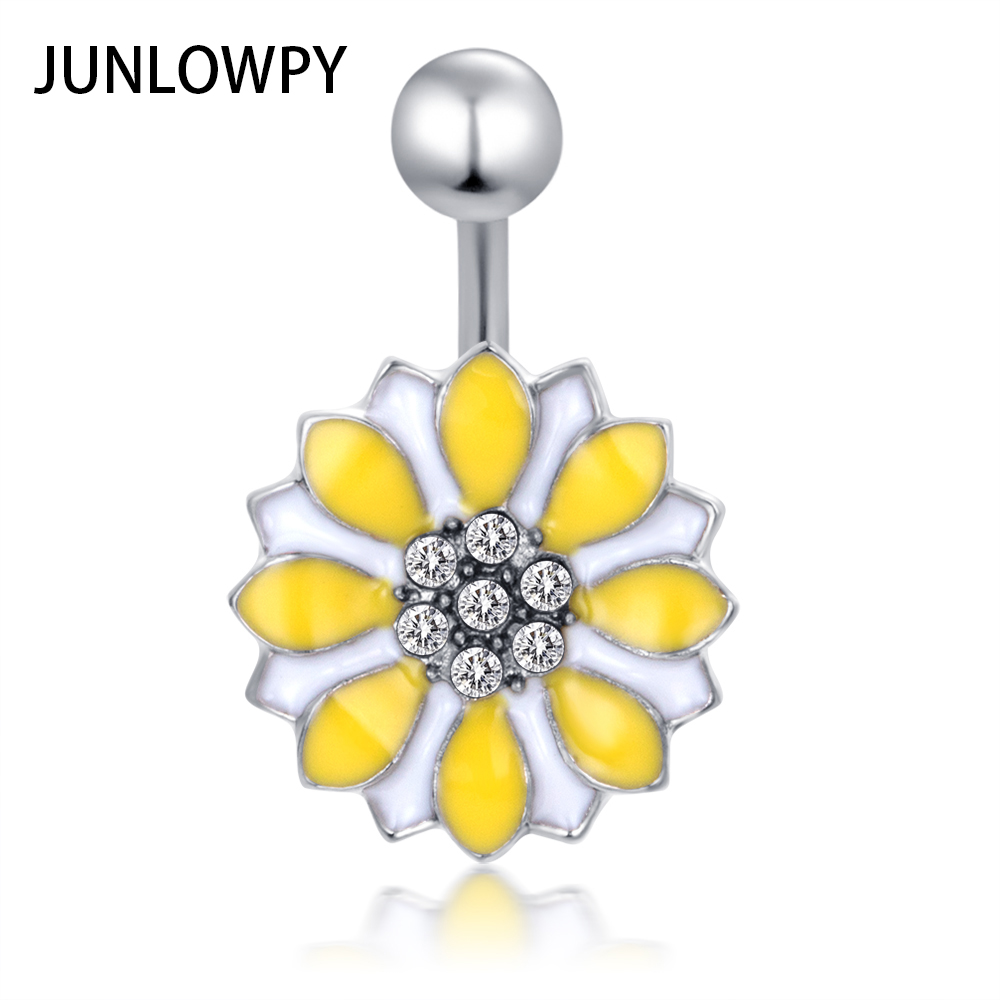 Us 15 31 11 Off Junlowpy Sunflower Navel Piercing Belly Button Rings Stainless Steel Bell Bar Helix Tragus Earring Fancy Body Jewelry 14g 20pcs In