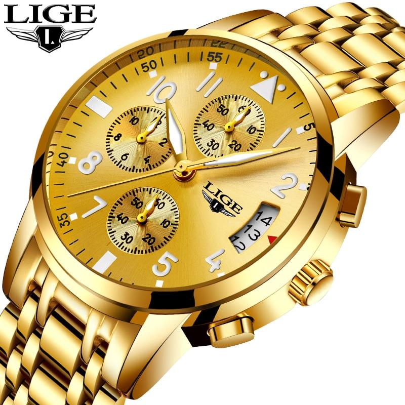 LIGE Mens Watches Business Fashion Luxury Top Brand Quartz Watch Sports Casual Waterproof Full Steel Clock Relogio Masculino+Box цена