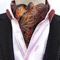 De los hombres de orange oro paisley flor del banquete de boda corbata corbata ascot bwthz0163