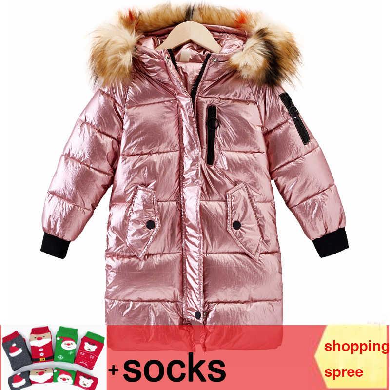 Girls pearlite layer kurtki 2019 dzieci zimowe ubrania dziewczyna płaszcze ciepły futrzany kołnierz z kapturem długie kurtki puchowe dla dziecięca odzież wierzchnia