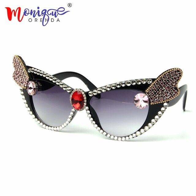 6ee298b26ba1 2018 Sexy Lady Retro Cat Eye Sunglasses Women Luxury Crystal Vintage  oversize Sun Glasses For Female