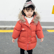 Girls Winter Coats 2019 Baby Girl Real Fur Collar Hooded Warm Cotton Zipper Jacket Clothes Children Winter Parka Jacket for Boy children cold winter warm down jacket girls thickening boy long parka real fur hooded outerwear coats kids clothing girl clothes