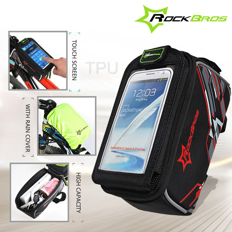 ROCKBROS Touch Screen Bicycle Bag For 6.0'' 6inch Phone iPhone 6/7 Case Cycling MTB Road Bike Front Top Frame Crossbar Tube Bag