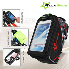 цена на ROCKBROS Waterproof MTB Bike Bicycle Front Top Frame Handlebar Bag Cycling Pouch Touchscreen Panniers Reflective Bags 2 Sizes