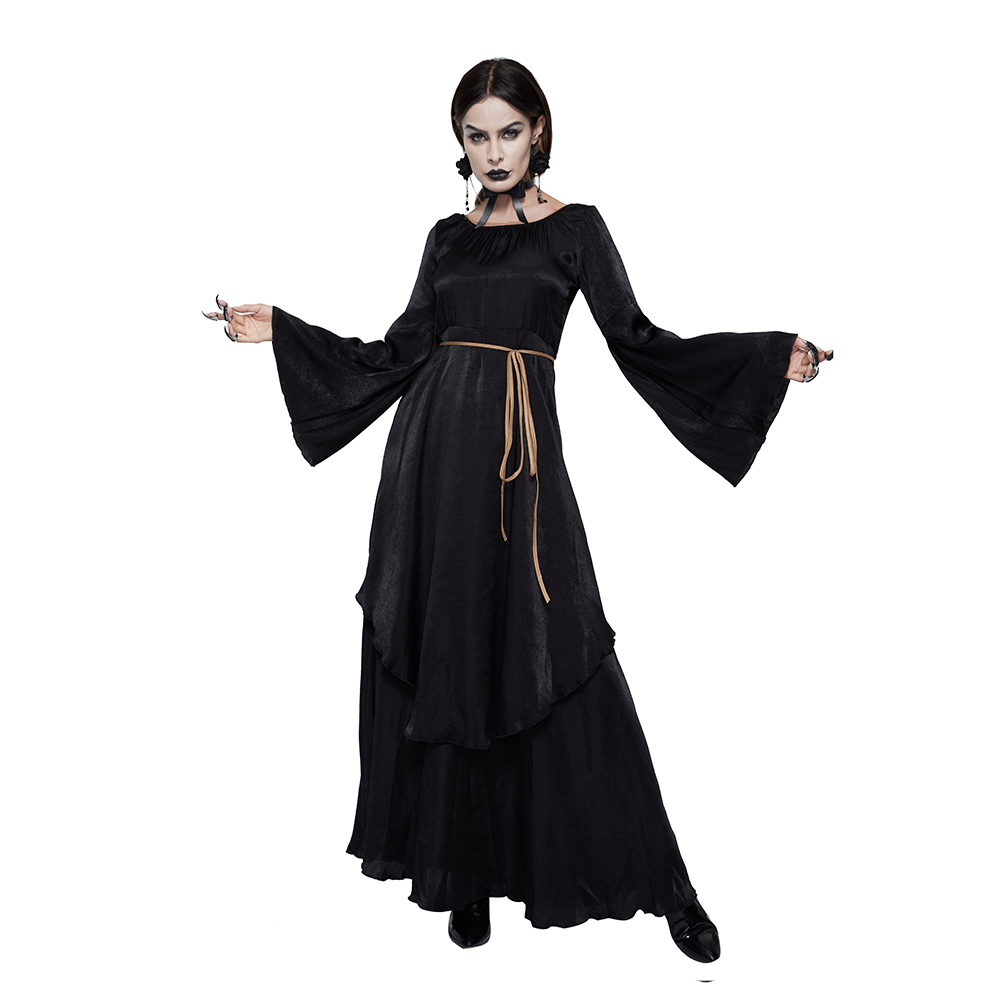 Rosetic Women Black Dresses Vintage Bandage Goth Flare Sleeve Robe Lace Up Party Black Sexy Dress Gothic Halloween Dresses