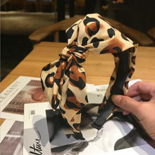 2019 New Geometric Leopard Hairband Big Size Bowknot Hair Band Headband For Girl Ladies Classic Headwear Hair Accessories(China)