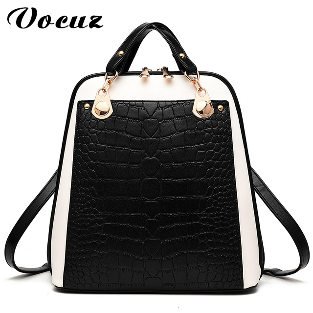 VOCUZ Brand 2017 Solid High Quality PU Leather Backpack Women Designer  School Bags For Teenagers Girls 1970c08e11415