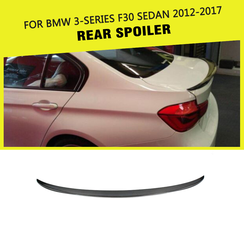P Styling Carbon fiber Rear Spoiler Trunk Wing Lip For BMW F30 Spoiler 3 Series 320 328 330 335 F80 M3 Spoiler Sedan 2012-2017 hot car abs chrome carbon fiber rear door wing tail spoiler frame plate trim for honda civic 10th sedan 2016 2017 2018 1pcs