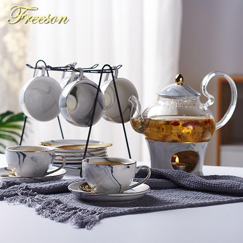 Marbling פורצלן תה סט נורדי קרמיקה תה כוס סיר עם קנדלר מסננת פרחוני קומקום סט בית Teaware קפה כוס ספל תה