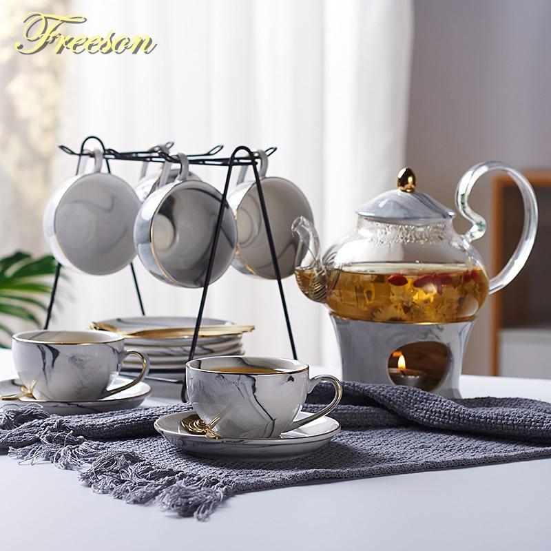 Marbling Porcelain Tea Set Nordic Ceramic Tea Cup Pot With Candler Strainer Floral Teapot Set Cafe Mug Teatime Coffee Cup Teacup