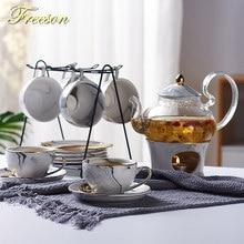Marmurkowy porcelanowy zestaw do herbaty Nordic ceramiczny kubek na herbatę z sitkiem Candler kwiatowy zestaw z imbrykiem Cafe kubek Teaware filiżanka kawy filiżanka