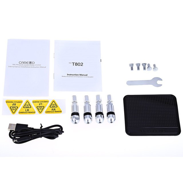T802 4 Internal Sensors Pressure Monitoring System Solar Power Car TPMS PSI BAR Diagnostic Tool with Abnormal Status Alert