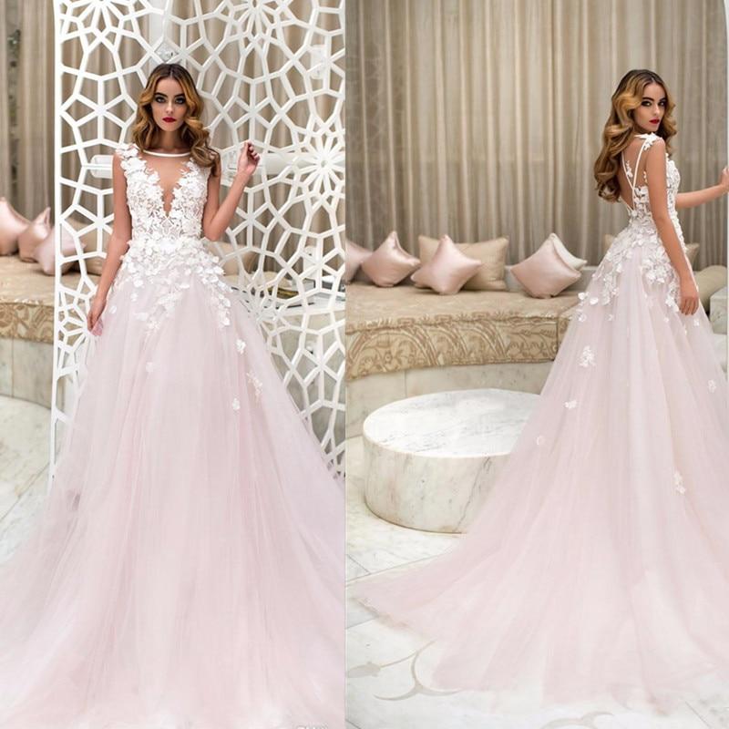 Different Two Style Neckline Flower Applique Beading Wedding Dress A-line Court Train Bridal Dress Vestidos De Formatura