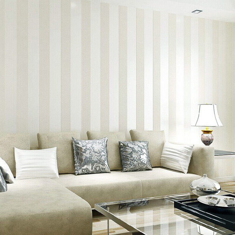 Modern silver glitter white striped wallpaper for wall for Living room paper