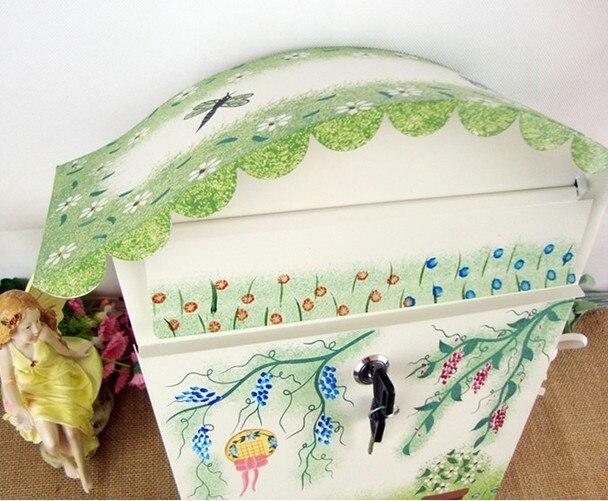 Утолщенный модный Европейский деревенский цветной узор большой металлический Железный почтовый ящик с буквенным принтом, почтовый ящик, п... - 3