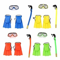 Children Snorkel Mask Swimming Diving Masks Snorkeling Set Goggles Flippers Scuba Surface Silicone Maske Masque Kids Training