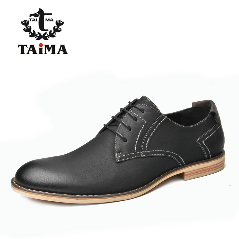 TAIMA Brand Fashion Men Shoes, High Quality Men Business Casual Leather Dress Shoes, Classical Lace-up Oxford Shoes Black#RU0018 2016 new high quality genuine leather men business casual shoes men woven breathable hole gentleman shoes brand taima 40 45