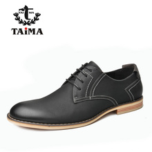 TAIMA Brand Fashion Men Shoes, High Quality Men Business Casual Leather Dress Shoes, Classical Lace-up Oxford Shoes Black
