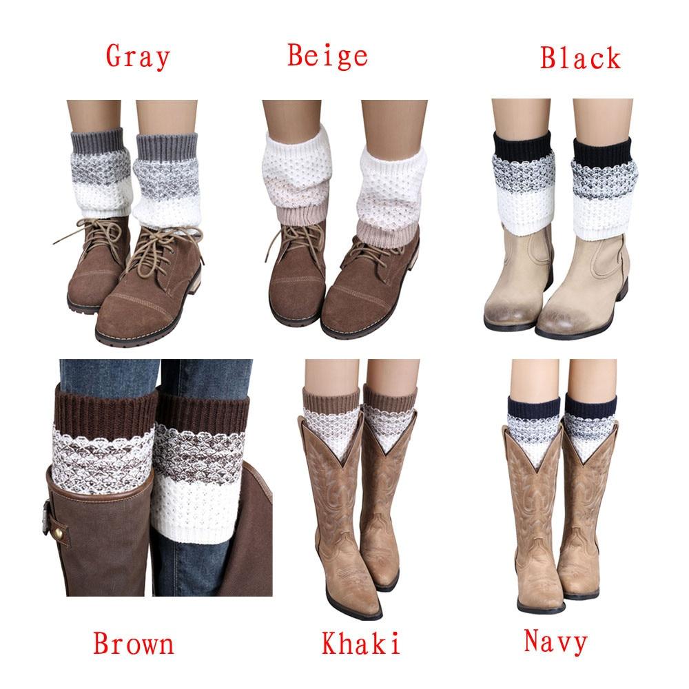 Creazy Womens Jacquard Knitted Leg Warmers Socks Boot Cover 2016 Black