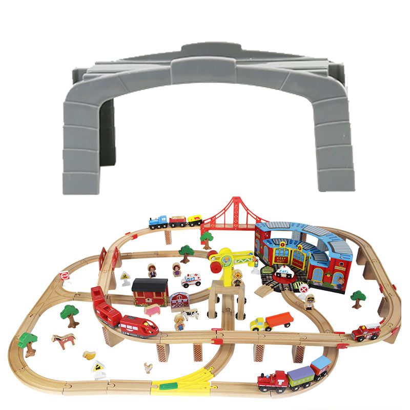 Wooden Train Track Toys Thomas & Friends Magic DIY Mini Puzzle Railway bridge Accessories Track Toys for Children Gift