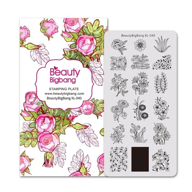 Beautybigbangスタンピングプレート草美しい花葉パターンステンレス鋼イルネイルアートスタンピングプレートXL 040