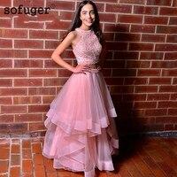 Розовый жемчуг Двойка длинное вечернее платье 2019 с лямкой на шее для выпускного вечера вечерние платье с юбкой из тюля и ярусной юбкой Бисер