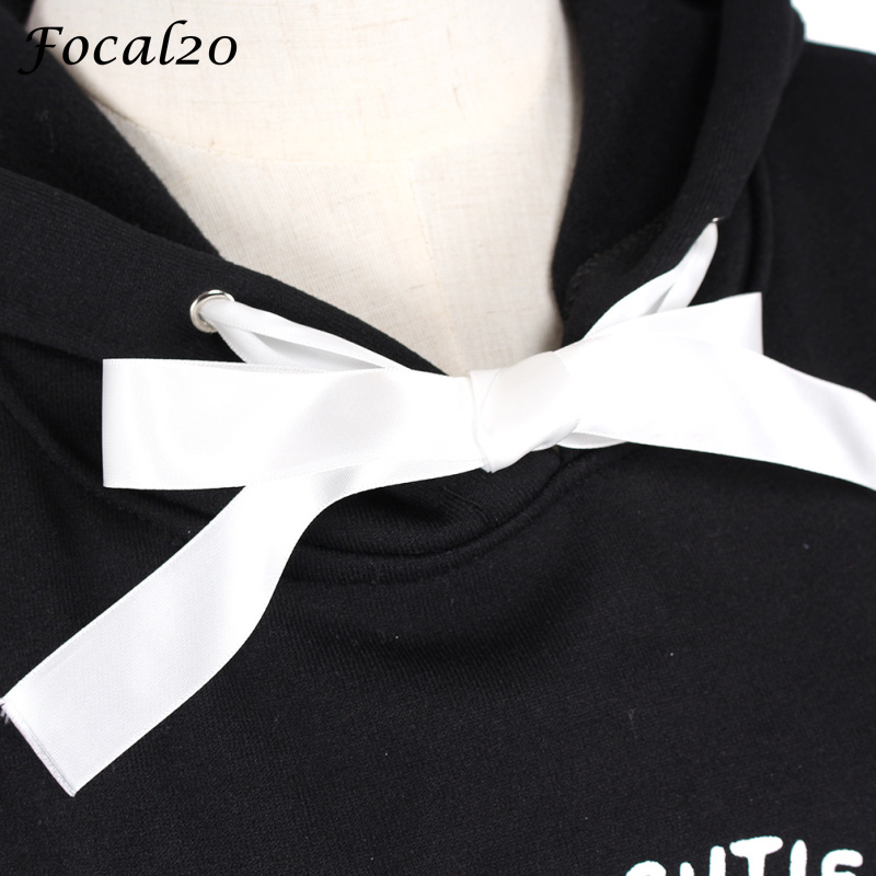 Focal20 Harajuku Pentagram Print Lace Up Women Fleeces Hoodies Gothic Punk Oversize Velvet Hooded Sweatshirt Pullover Streetwear #5