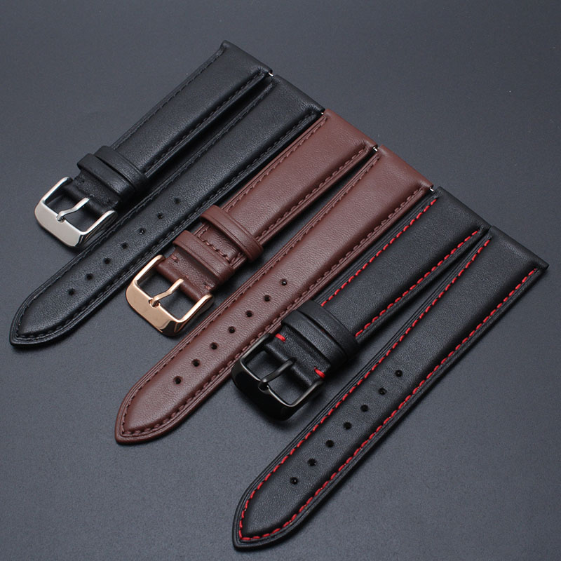 Watchband Soft Calf Genuine Leather Hight Quality Strap For Smart watch 20mm 22mm Pin clasp man's smooth watchband spring bars
