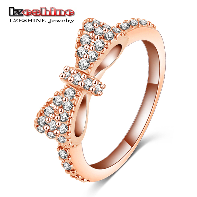 LZESHINE Lovely Bow Rings With Rose Gold Color Micro Inlay Full Cubic Zirconia R