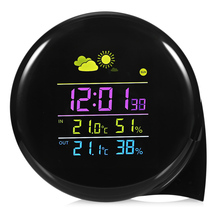 1PCS Weather Station Alarm Clock Wireless Thermometer Clock Indoor/Outdoor Temperature Humidity Monitor Clock With Remote Sensor