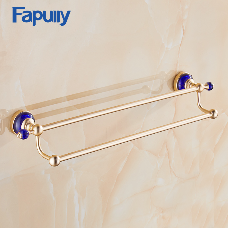 Fapully Blue Crystal Golden Double Towel Bar,Towel Holder Towel Rack Bars Space Aluminum Bathroom Accessories 2015 copper golden chrome bathroom accessories suite bathroom double towel bar soap bars brush holder discbathroom accessories