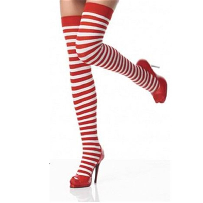 New Style Fashion Women Lady Girls Comfortable Stripe Print Long Over Knee Thigh High Stockings 5 Colors Sexy Stocking