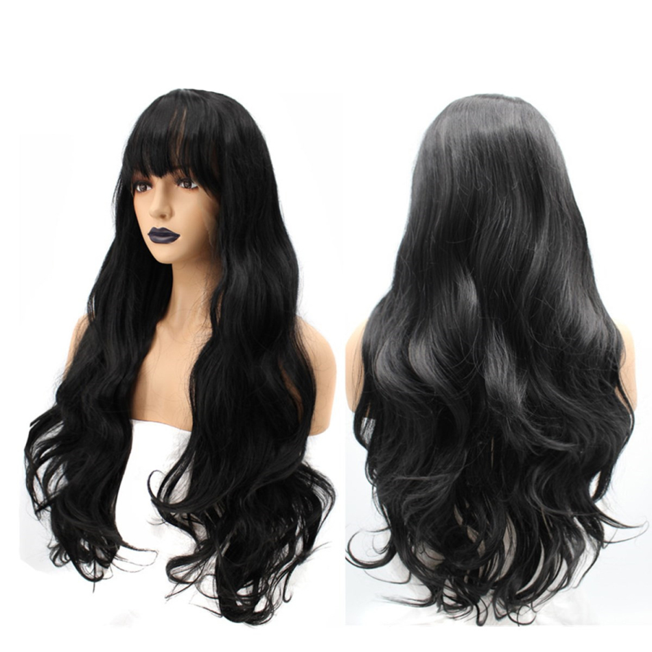 22/26 inches Long Curly Hair Wig Loose Wave Wigs Black Synthetic Lace Front Wig Caps Hair Extensions Hair Stylings Tool(China)
