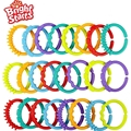 24pcs/pack Large Bright Starts Brand Rainbow Circle Their Fingers Connected Loop Baby Toys Kids Hung Rattles Educational Toy