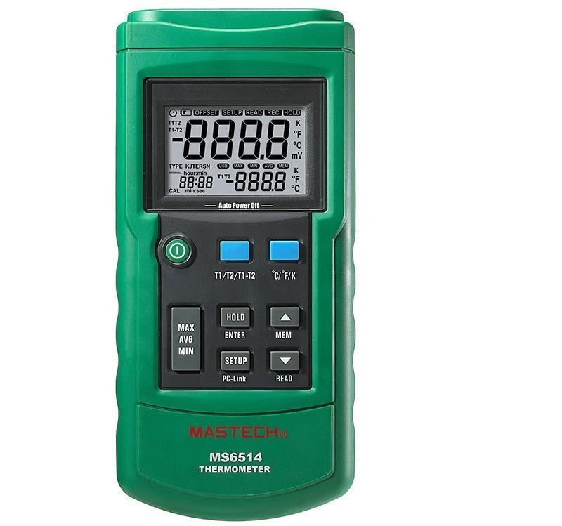 FAST ARRIVAL MASTECH MS6514 Dual Channel Digital Thermometer Temperature Logger Tester USB Interface K-type thermocouple mastech ms6514 dual channel digital thermometer temperature logger tester usb interface 1000 set data k j t e r s n thermocouple
