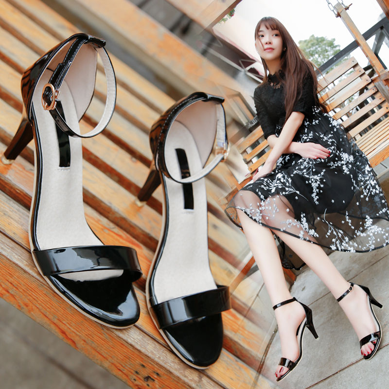 Summer new high heel stiletto sandals sexy open toe word buckle gold wild silver women's shoes