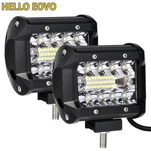 Image 1 - 2PCS 4 inch LED בר LED עבודה אור בר לנהיגה Offroad סירת רכב טרקטור משאית 4x4 SUV טרקטורונים 12V 24V מדורג 60W בפועל 15W