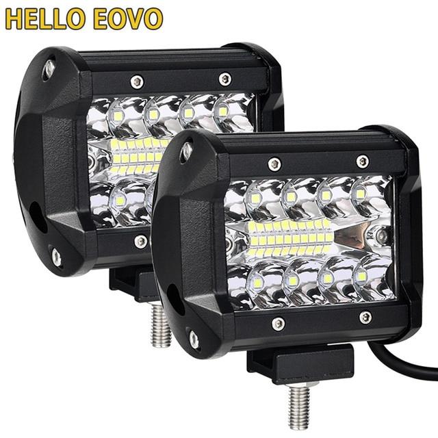 2PCS 4 inch LED בר LED עבודה אור בר לנהיגה Offroad סירת רכב טרקטור משאית 4x4 SUV טרקטורונים 12V 24V מדורג 60W בפועל 15W