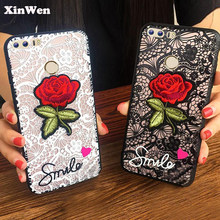 XinWen luxury cute Fashion 3D Rose Flower PC Phone cover coque case For huawei honor 8 honor8 Sexy Woman Lace Back accessories(China)